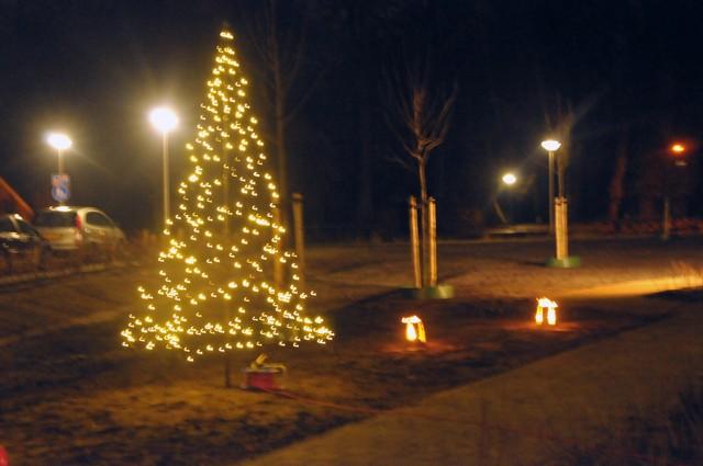 toen de stekker eenmaal in het stopcontact was gestoken ging de verlichting van de buiten kerstboom aan
